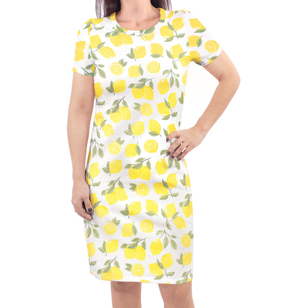 Touched by Nature Organic Cotton Short-Sleeve and Long-Sleeve Dresses, Women Lemon Tree Short Sleeve