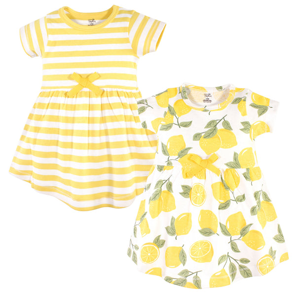 Touched by Nature Organic Cotton Short-Sleeve and Long-Sleeve Dresses, Baby Toddler Lemon Tree Short Sleeve