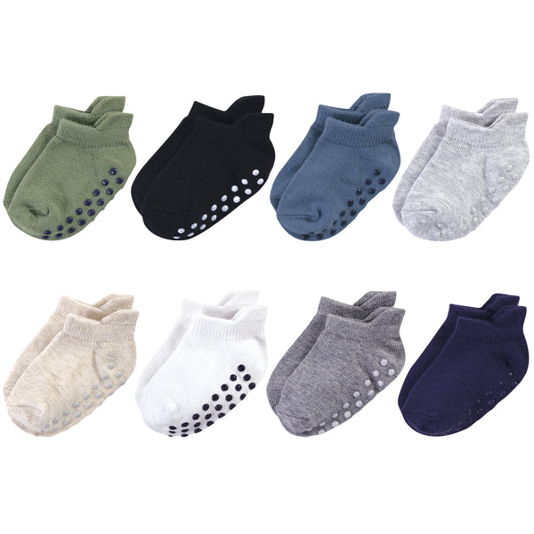 Touched by Nature Organic Cotton Socks with Non-Skid Gripper for Fall Resistance, Solid Blue Black
