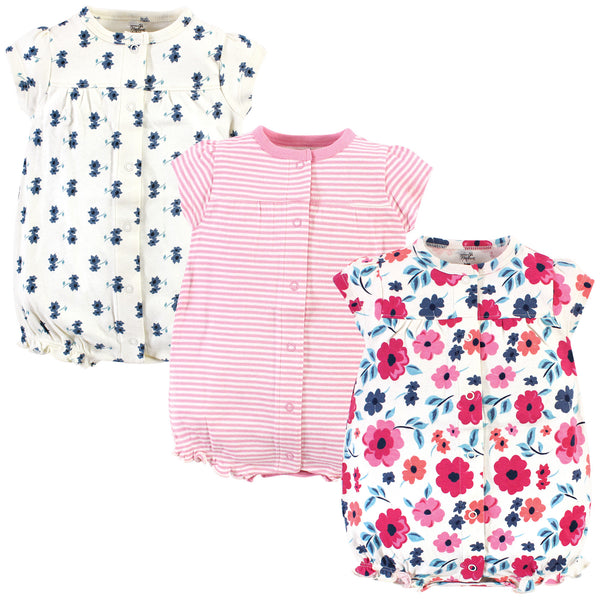 Touched by Nature Organic Cotton Rompers, Garden Floral Short-Sleeve