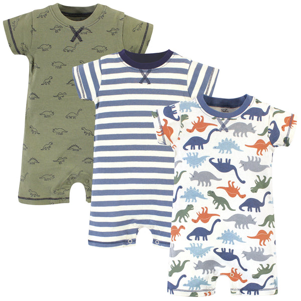 Touched by Nature Organic Cotton Rompers, Bold Dinosaurs