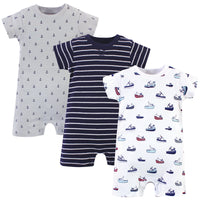 Touched by Nature Organic Cotton Rompers, Fishing Boats