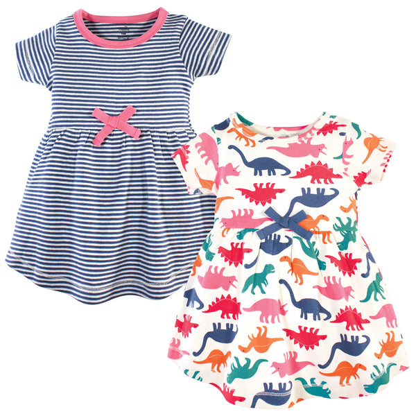 Touched by Nature Organic Cotton Short-Sleeve and Long-Sleeve Dresses, Baby Toddler Dinosaurs Short Sleeve