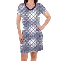 Touched by Nature Organic Cotton Short-Sleeve and Long-Sleeve Dresses, Women Navy Tile Short Sleeve