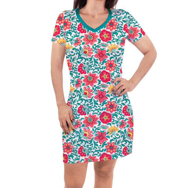 Touched by Nature Organic Cotton Short-Sleeve and Long-Sleeve Dresses, Women Paisley Floral Short Sleeve