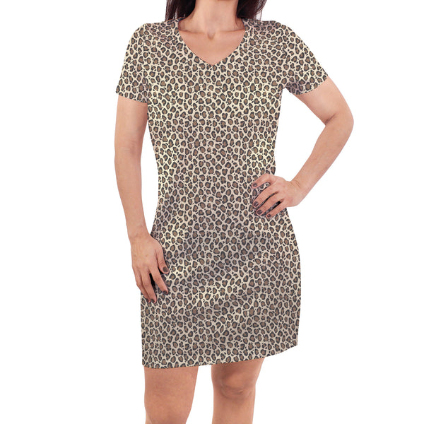 Touched by Nature Organic Cotton Short-Sleeve and Long-Sleeve Dresses, Women Leopard Short Sleeve