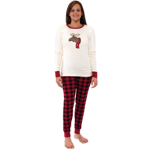 Touched by Nature Holiday Pajamas, Women Moose