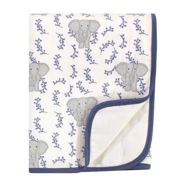 Touched by Nature Organic Cotton Muslin Tranquility Blanket, Blue Elephant, One Size