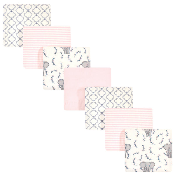 Touched by Nature Organic Cotton Flannel Blankets, 7-Pack, Pink Elephant