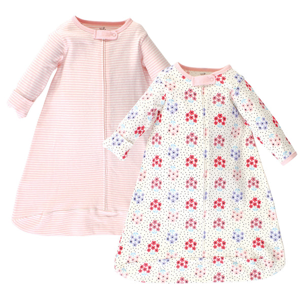 Touched by Nature Organic Cotton Long-Sleeve Wearable Sleeping Bag, Sack, Blanket, Floral Dot