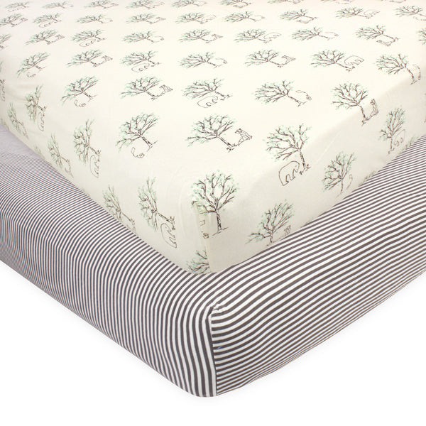 Touched by Nature Organic Cotton Crib Sheet, Birch Trees