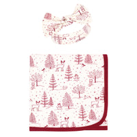 Touched by Nature Organic Cotton Swaddle Blanket and Headband or Cap, Winter Woodland