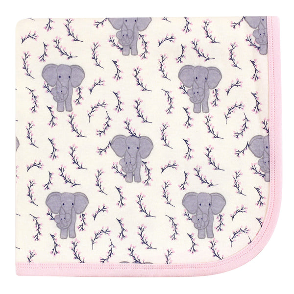 Touched by Nature Organic Cotton Swaddle, Receiving and Multi-purpose Blanket, Pink Elephant