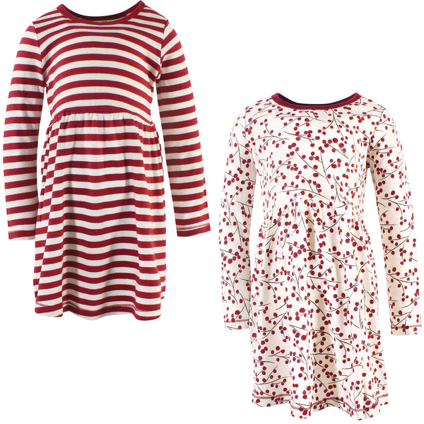 Touched by Nature Organic Cotton Short-Sleeve and Long-Sleeve Dresses, Youth Berry Branch Long Sleeve
