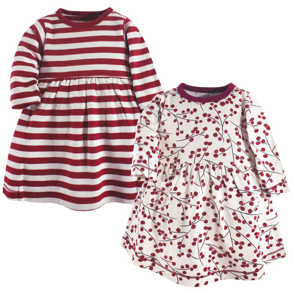 Touched by Nature Organic Cotton Short-Sleeve and Long-Sleeve Dresses, Baby Toddler Berry Branch Long Sleeve
