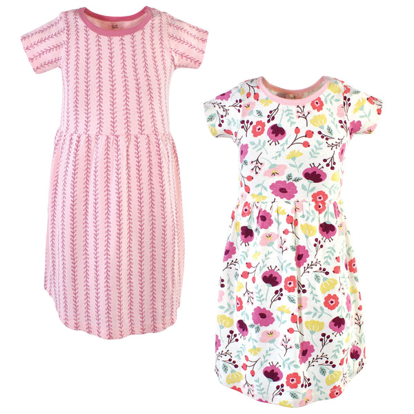 Touched by Nature Organic Cotton Short-Sleeve and Long-Sleeve Dresses, Youth Botanical Short Sleeve