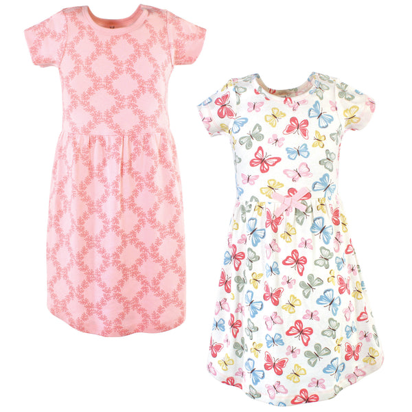 Touched by Nature Organic Cotton Short-Sleeve and Long-Sleeve Dresses, Youth Butterflies Short Sleeve