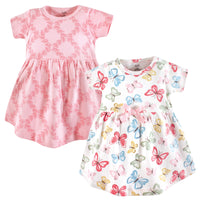 Touched by Nature Organic Cotton Short-Sleeve and Long-Sleeve Dresses, Baby Toddler Butterflies Short Sleeve