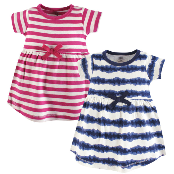 Touched by Nature Organic Cotton Short-Sleeve and Long-Sleeve Dresses, Baby Toddler Tie Dye Stripe Short Sleeve