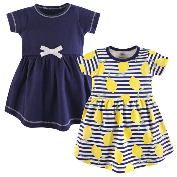 Touched by Nature Organic Cotton Short-Sleeve and Long-Sleeve Dresses, Baby Toddler Lemons Short Sleeve