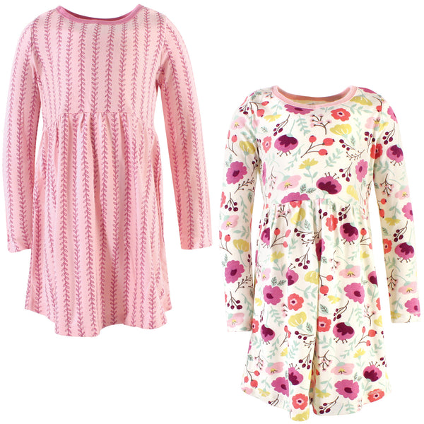 Touched by Nature Organic Cotton Short-Sleeve and Long-Sleeve Dresses, Youth Botanical Long Sleeve