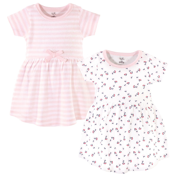 Touched by Nature Organic Cotton Short-Sleeve and Long-Sleeve Dresses, Baby Toddler Tiny Flowers Short Sleeve