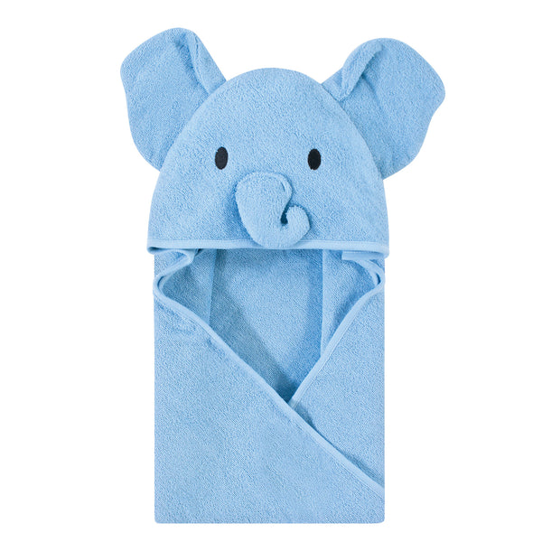 Touched by Nature Organic Cotton Animal Face Hooded Towels, Blue Elephant