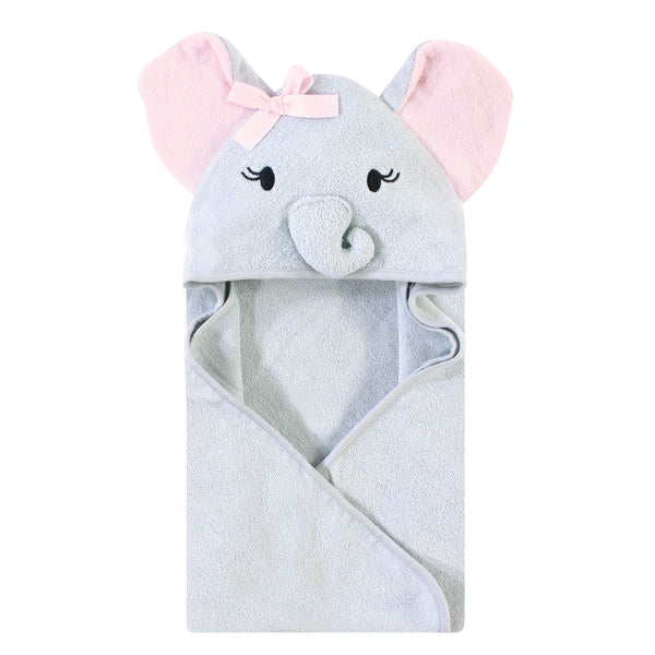 Touched by Nature Organic Cotton Animal Face Hooded Towels, Girl Elephant