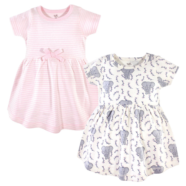 Touched by Nature Organic Cotton Short-Sleeve and Long-Sleeve Dresses, Baby Toddler Pink Elephant Short Sleeve
