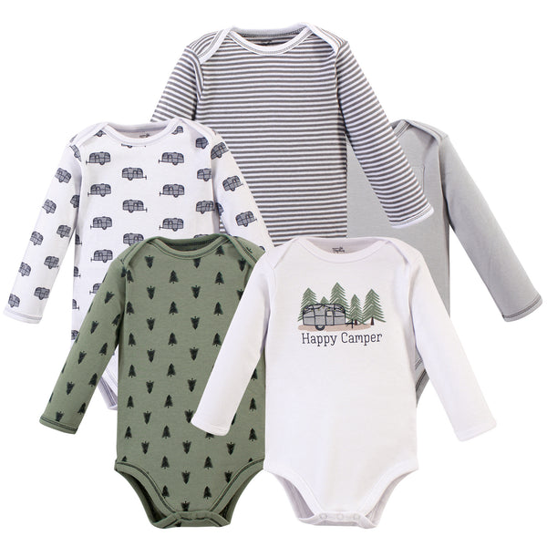 Touched by Nature Organic Cotton Long-Sleeve Bodysuits, Happy Camper