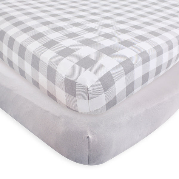 Touched by Nature Organic Cotton Crib Sheet, Plaid Solid Gray