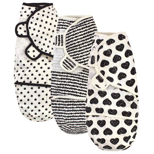 Touched by Nature Organic Cotton Swaddle Wraps, Heart 3-Pack