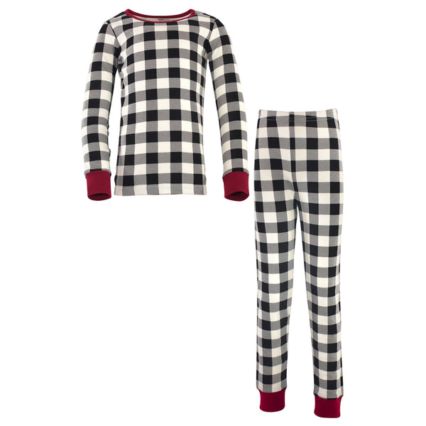 Touched by Nature Organic Cotton Tight-Fit Pajama Set, Black Plaid