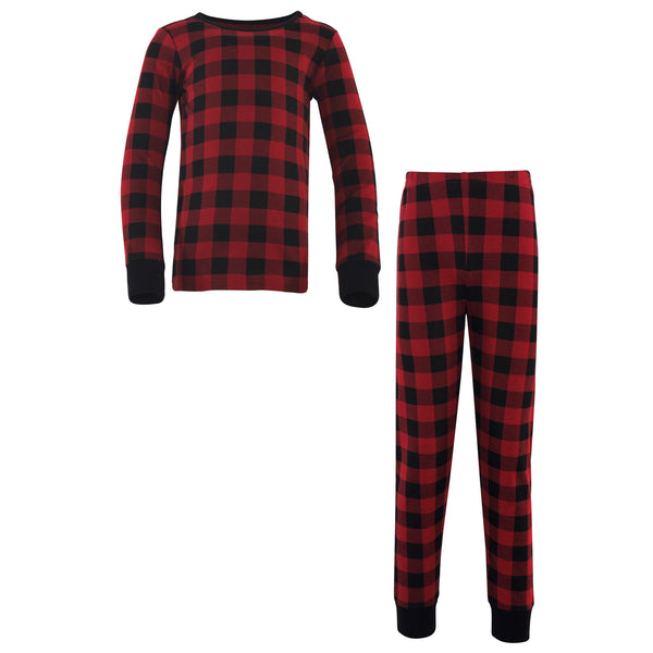 Touched by Nature Organic Cotton Tight-Fit Pajama Set, Buffalo Plaid