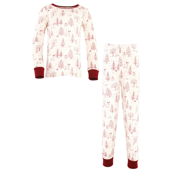 Touched by Nature Organic Cotton Tight-Fit Pajama Set, Winter Woodland