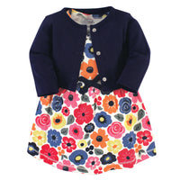 Touched by Nature Organic Cotton Dress and Cardigan, Bright Flower