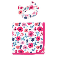 Touched by Nature Organic Cotton Swaddle Blanket and Headband or Cap, Garden Floral