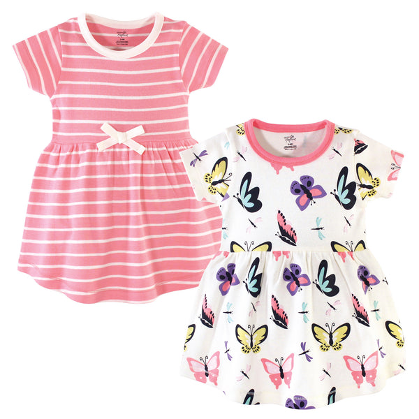 Touched by Nature Organic Cotton Short-Sleeve and Long-Sleeve Dresses, Baby Toddler Butterflies and Dragonflies Short Sleeve