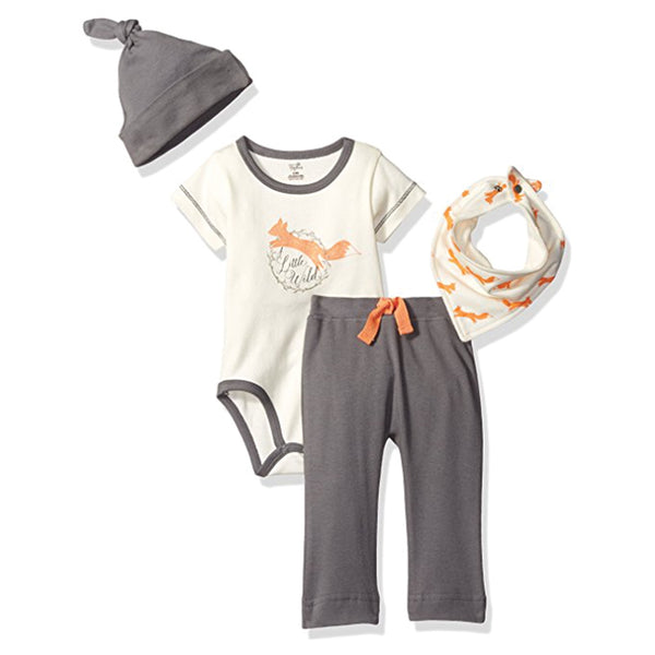 Touched by Nature Organic Cotton Layette Set 4-Piece, Fox