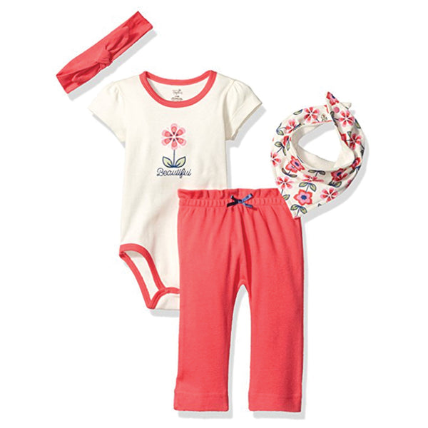 Touched by Nature Organic Cotton Layette Set 4-Piece, Flower