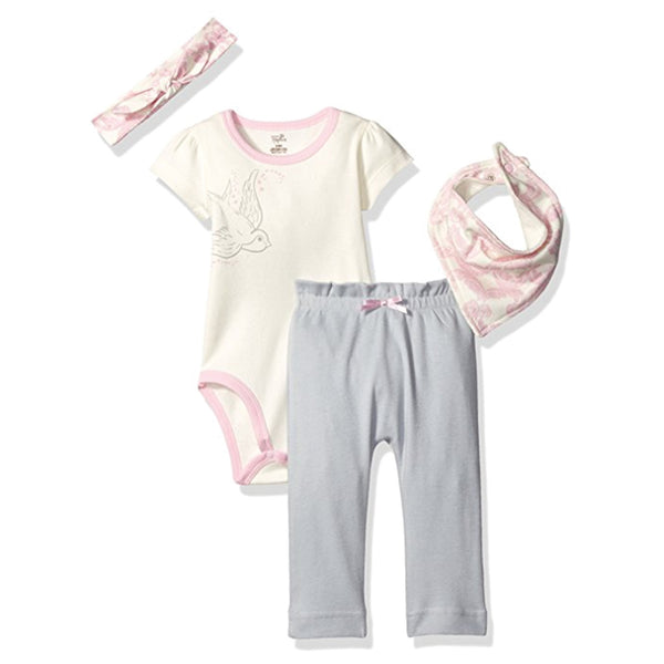 Touched by Nature Organic Cotton Layette Set 4-Piece, Bird