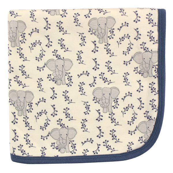 Touched by Nature Organic Cotton Swaddle, Receiving and Multi-purpose Blanket, Blue Elephant