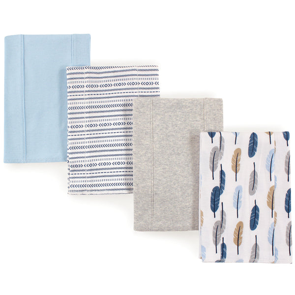 Touched by Nature Organic Cotton Burp Cloths, Boy Feathers