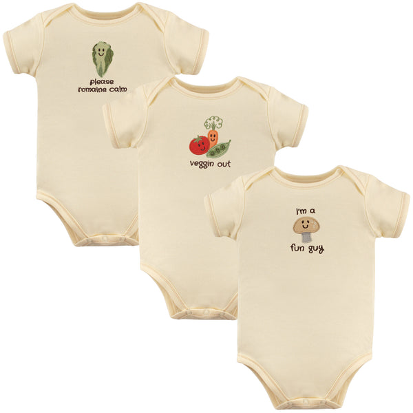 Touched by Nature Organic Cotton Bodysuits, Mushroom 3-Pack