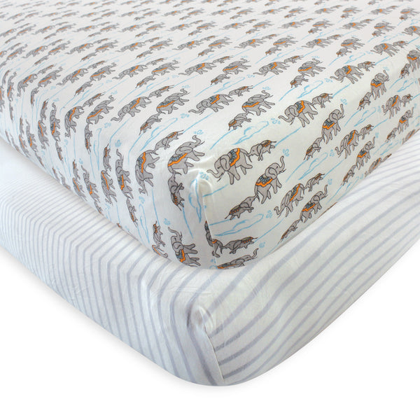Touched by Nature Organic Cotton Crib Sheet, Elephant