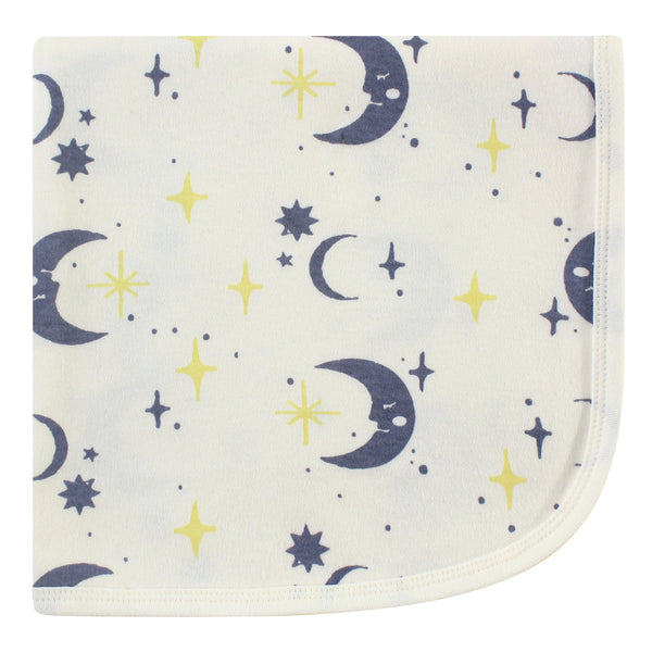 Touched by Nature Organic Cotton Swaddle, Receiving and Multi-purpose Blanket, Moon