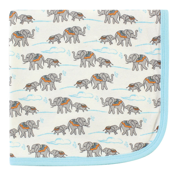 Touched by Nature Organic Cotton Swaddle, Receiving and Multi-purpose Blanket, Elephant