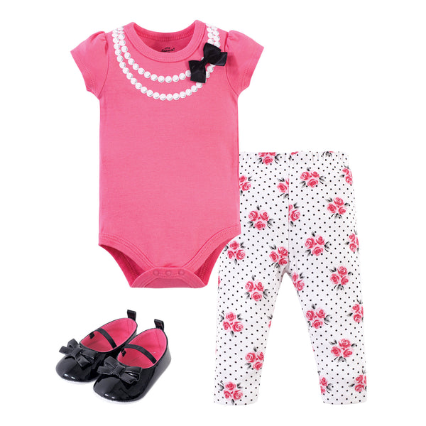 Little Treasure Cotton Bodysuit, Pant and Shoe Set, Pink Pearls