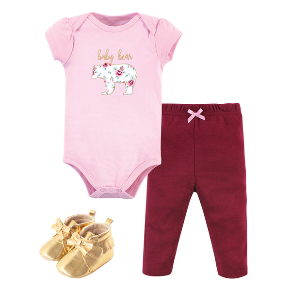 Little Treasure Cotton Bodysuit, Pant and Shoe Set, Girl Baby Bear