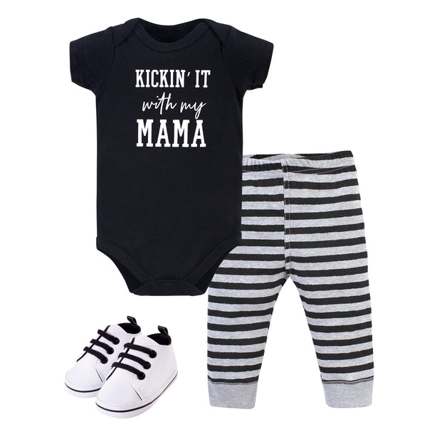 Little Treasure Cotton Bodysuit, Pant and Shoe Set, Kickin' It
